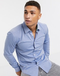 Приталенная рубашка с длинными рукавами BOSS-Синий