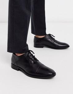 Черные кожаные туфли дерби Redfoot-Черный