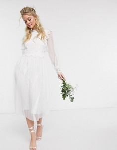 Белое свадебное платье миди с прозрачными рукавами Y.A.S-Белый