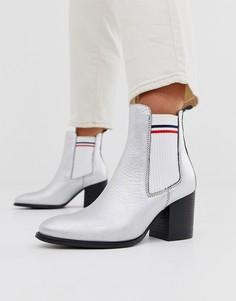 Кожаные ботинки челси на среднем каблуке Tommy Hilfiger-Серебряный