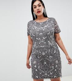 Платье мини с декоративной отделкой Lovedrobe Lux-Серый