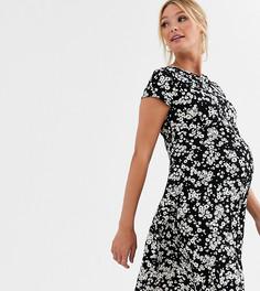 Свободное платье с цветочным принтом New Look Maternity-Черный