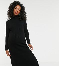 Платье миди с разрезом сбоку ASOS DESIGN Maternity-Черный