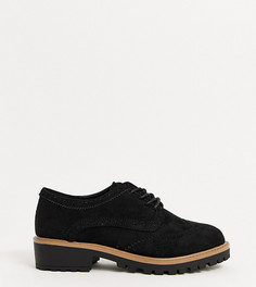Черные броги для широкой стопы на массивной подошве New Look-Черный