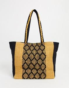 Пляжная сумка-тоут из джута с ацтекским принтом America & Beyond-Мульти