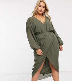 Платье миди с глубоким вырезом и пышными рукавами на манжете ASOS DESIGN Curve-Зеленый