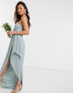 Эксклюзивное шалфейно-зеленое платье-бандо мидакси TFNC bridesmaid-Зеленый