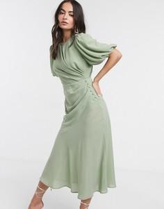 Шалфейно-зеленое платье макси в клетку с пышными рукавами ASOS DESIGN-Зеленый