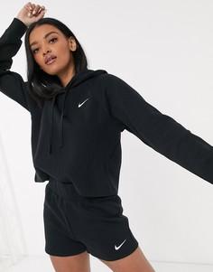 Короткий худи черного цвета в рубчик Nike Premium-Черный