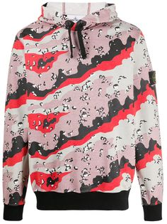 Stone Island abstract print hoodie