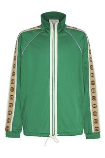Зеленая олимпийка с жаккардовой логотипной лентой Gucci