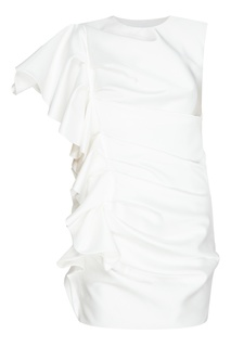 Белое платье мини с драпировками и воланом Alexandre Vauthier