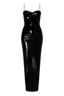 Черное платье-комбинация с пайетками Alex Perry