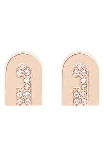 Золотистые серьги с кристальными логотипами Furla