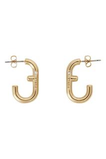 Золотистые серьги-пусеты с логотипами Furla
