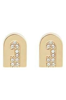 Золотистые серьги-пусеты с кристаллами Furla