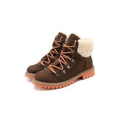 Кожаные ботинки с меховой отделкой Emporio Armani