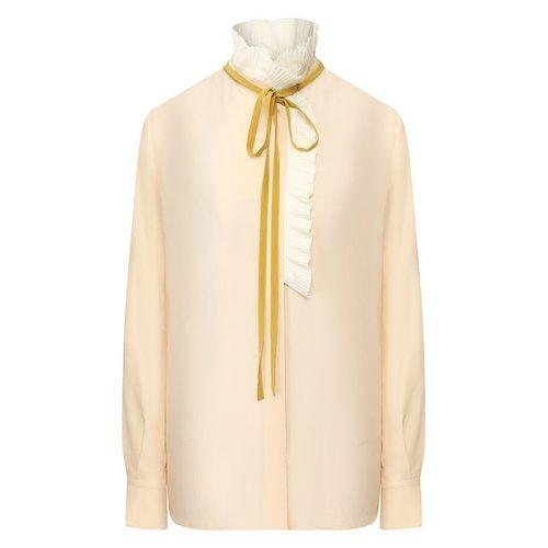 Белая блузка с воланами на рукавах