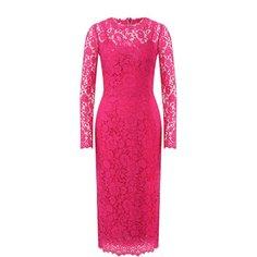 Кружевное платье-миди с круглым вырезом Dolce & Gabbana