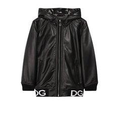 Кожаная куртка на молнии с капюшоном Dolce & Gabbana