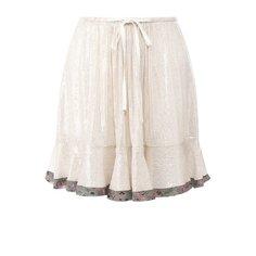 Шелковая мини-юбка с контрастной отделкой и пайетками Chloé