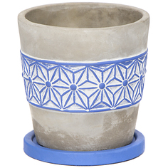 Горшок для цветов Shuanyi орнамент синий 15 см