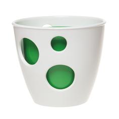 Горшок Керам каменный цветок дуэт ВК белый/зеленый 15 см