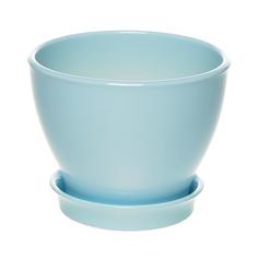 Горшок с поддоном керамический для цветов Керам Ксения глянец небесно-голубой 12см