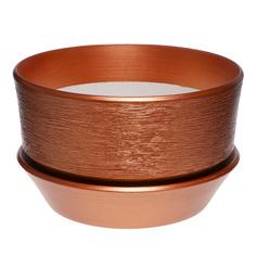 Горшок с поддоном керамический для цветов Керам бокарнейница бронза d 32см.