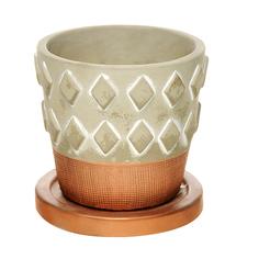Горшок с поддоном цементный для цветов Shuanyi 11 см