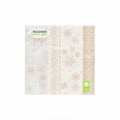 Салфетки трехслойные 33 см Bulgaree Green Снежинки на ванили