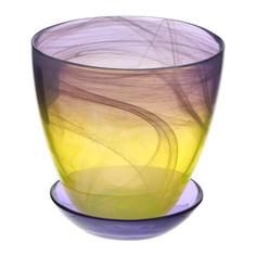 Горшок с поддоном Нзсс желто-фиолетовый