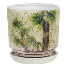 Горшок цветочный с поддоном Dehua ceramic бамбук d12