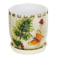 Горшок цветочный с поддоном Dehua ceramic, дизайн бабочка 15x15x14см