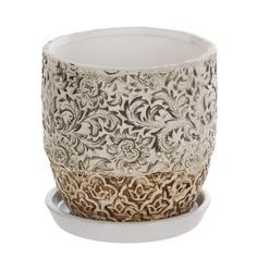 Горшок цветочный с поддоном Dehua ceramic, дизайн pattern 18x18x16см
