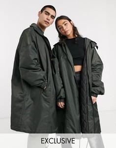 Oversized-пальто цвета хаки в стиле унисекс COLLUSION-Серый