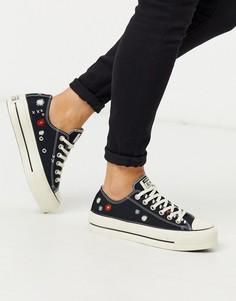 Черные кеды на платформе с цветочной вышивкой Converse Chuck Taylor Lift-Черный