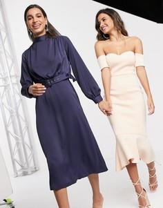Темно-синее платье миди с высоким воротом и поясом Closet London-Темно-синий