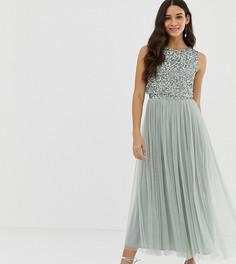 Шалфейно-зеленое платье мидакси без рукавов с пайетками Maya Bridesmaid-Зеленый