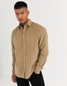 Вельветовая полосатая oversized-рубашка в стиле 90-х ASOS DESIGN-Коричневый