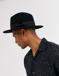 Черная фетровая шляпа регулируемого размера ASOS DESIGN-Черный