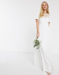 Белое свадебное платье макси с кружевной отделкой Y.A.S-Белый