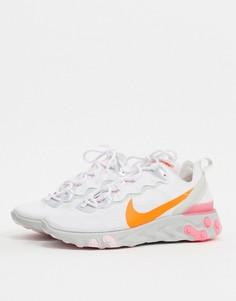 Белые кроссовки с розовыми и оранжевыми вставками Nike React Element 55-Белый