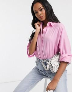 Рубашка бойфренда с длинными рукавами ASOS DESIGN-Бесцветный