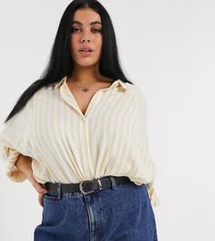 Рубашка бойфренда горчичного цвета в полоску с длинными рукавами ASOS DESIGN Curve-Мульти