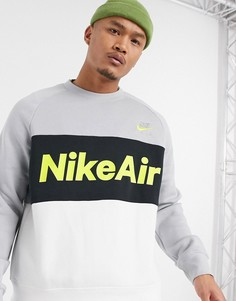 Бело-серый свитшот в стиле колор блок с круглым вырезом Nike Air-Белый