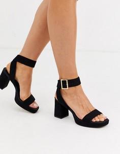 Черные босоножки на каблуке и платформе ASOS DESIGN-Черный