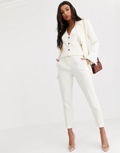 Зауженные брюки цвета слоновой кости ASOS DESIGN-Белый
