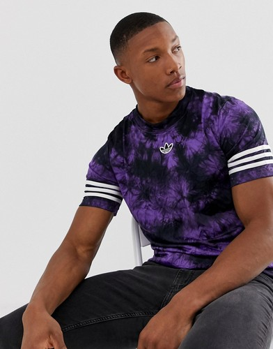 Футболка с принтом тай-дай, полосками и логотипом adidas Originals-Фиолетовый 26675651 | LOOKBUCK