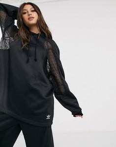 Черный oversized-худи с кружевной вставкой adidas Originals Bellista
